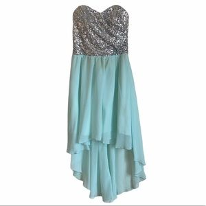 As U Wish   high low mint sequin strapless dress